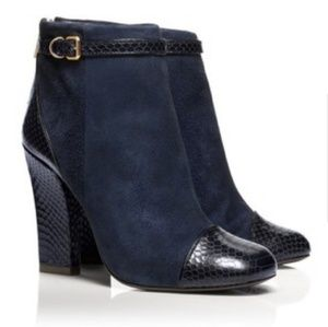 Tory Burch 8 Blue Suede Embossed Booties Leather
